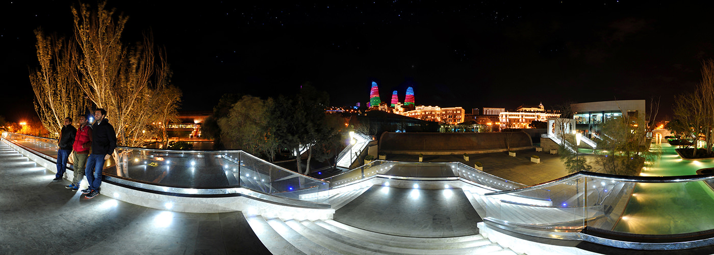 Flame Towers from Venice, Baku Boulevard - Visite virtuelle