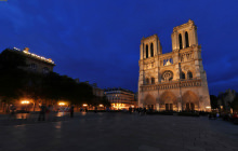 Notre-Dame at night, Paris - Panorama 360°