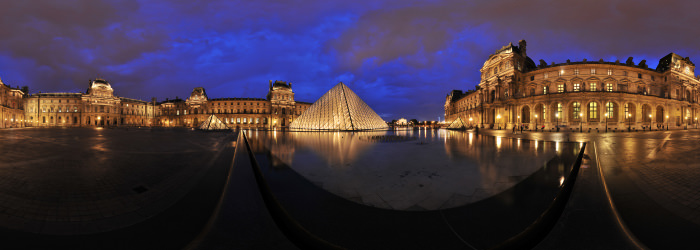 Louvre at night, Paris - Panorama 360°
