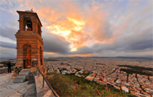 Sunset from Lykavittos hill, St. George Chapel, Athens - Virtual tour