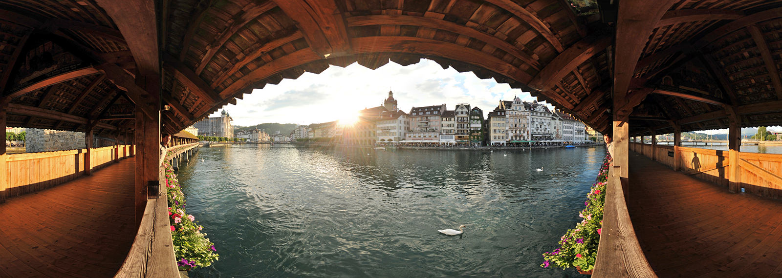 Kapellbrucke, Chapel Bridge, Luzern - Panorama 360°